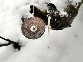 Celtic Shield Maiden Earrings in Natural Silver