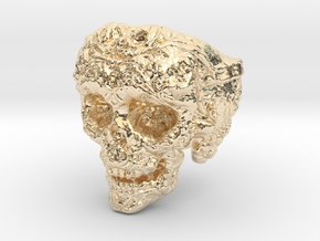 Barbarian Skull Ring size 12 in 14K Yellow Gold