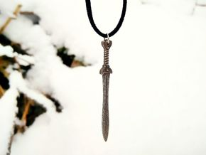 Celtic Sword Pendant in Polished Bronzed-Silver Steel