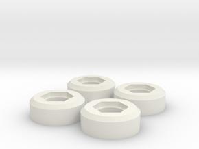 Wheel nut adapter for 12mm hex adapter Bruiser / H in White Natural Versatile Plastic