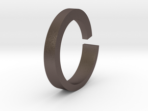 Rog Ring in Polished Bronzed-Silver Steel