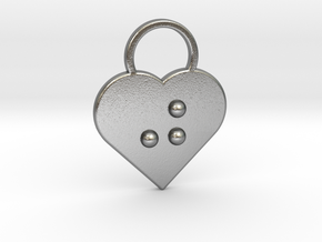 """j"" braille heart in Natural Silver"