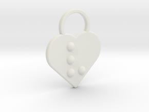"""""""v"""" Braille Heart in White Natural Versatile Plastic"""