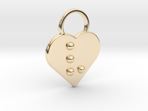 """v"" Braille Heart in 14k Gold Plated Brass"