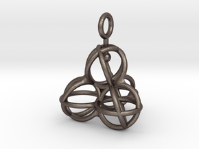 Tetrahedron Balls earring with interlock hook ring in Polished Bronzed-Silver Steel
