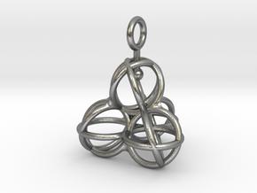Tetrahedron Balls earring with interlock hook ring in Natural Silver (Interlocking Parts)