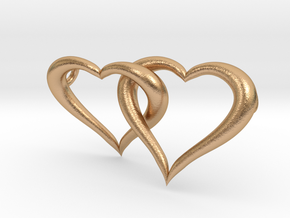 Interconnected Hearts Necklace in Natural Bronze (Interlocking Parts)