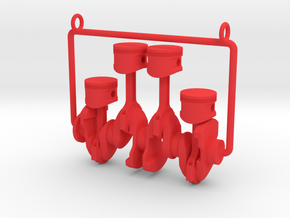 Inline 4 piston engine pendant in Red Processed Versatile Plastic