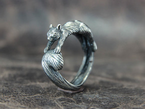 Squirrel Ring in Antique Silver: 8 / 56.75
