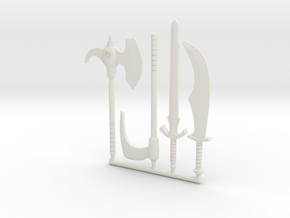 Galaxy Warriors Weapons (3mm, 4mm, 5mm) in White Natural Versatile Plastic: Small