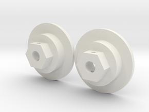 Tamiya Bruiser / HG P407 12mm Hex Adapter front in White Natural Versatile Plastic