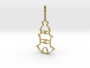 Tower Necklace-46 in Natural Brass