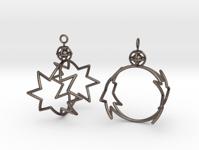 8-point star to circle earrings in Polished Bronzed-Silver Steel
