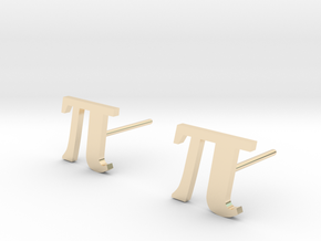 Pi stud earrings 10mm width. in 14k Gold Plated Brass