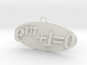 Euler identity Equation earring or pendant  in White Natural Versatile Plastic