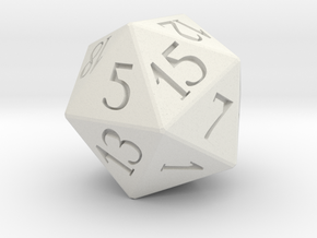 D20 Dice in White Natural Versatile Plastic