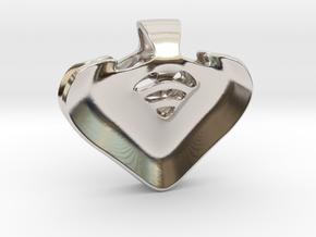"""Be my heart"" Pendant in Rhodium Plated Brass"
