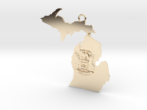 Map of Michigan with Michigan Flag Earring in 14k Gold Plated Brass