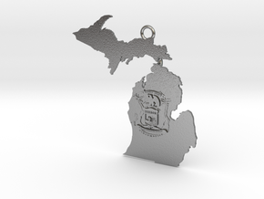 Map of Michigan with Michigan Flag Earring in Natural Silver