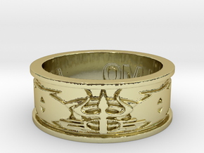 """Lord Shiva's Ring """"Karma II"""" Ring Size 13 in 18k Gold Plated Brass"""