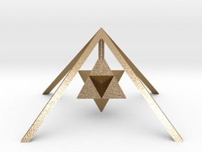 Golden Pyramid Star Tetrahedron in Polished Gold Steel