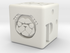 Pug Dice in White Natural Versatile Plastic