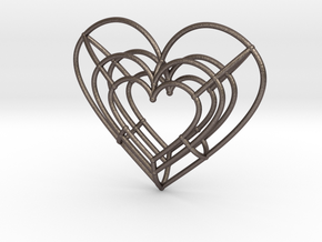 Medium Wireframe Heart Pendant in Polished Bronzed-Silver Steel