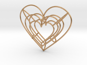 Large Wireframe Heart Pendant in Natural Bronze