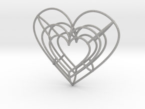 Large Wireframe Heart Pendant in Aluminum
