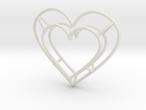 Small Open Heart Pendant in White Natural Versatile Plastic