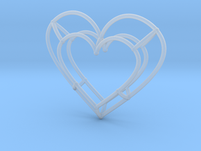 Small Open Heart Pendant in Smooth Fine Detail Plastic
