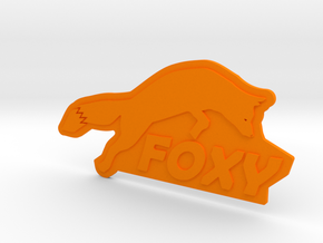 FOXY Badge 1.0 in Orange Processed Versatile Plastic