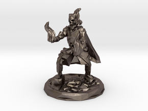 Skull Mage With Fire Hands Low Poly Version in Polished Bronzed-Silver Steel