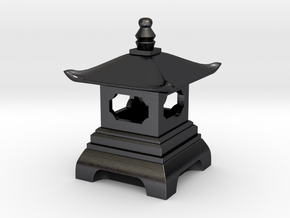 Japanese Pagoda Lantern Figure in Polished and Bronzed Black Steel