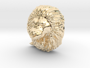 Angry Lion Pendant in 14K Yellow Gold
