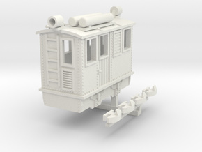 Egger-bahn style narrow gauge boxcab locomotive in White Natural Versatile Plastic