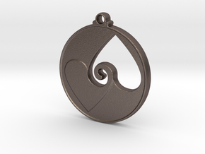 Heart Swirl Pendant in Polished Bronzed Silver Steel