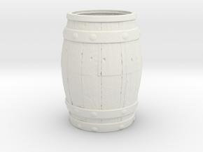 Barrel Toothpick Holder in White Natural Versatile Plastic