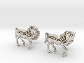 Stallion cufflinks in Rhodium Plated Brass