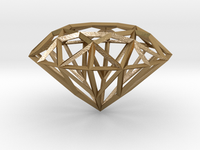 Geometric Diamond Pendant in Polished Gold Steel