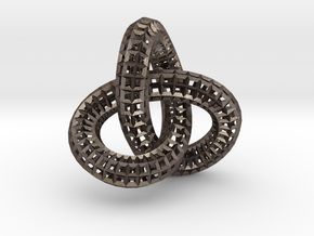 Torus Knot Wireframe  in Polished Bronzed-Silver Steel