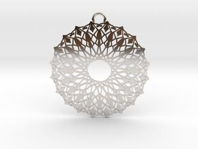 Ornamental pendant no.6 in Rhodium Plated Brass