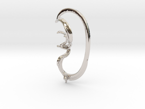 Pinna with Lower Support Hoop in Rhodium Plated Brass