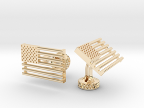 USA Flag Wedding Cufflinks. Old Glory Cufflinks in 14K Yellow Gold