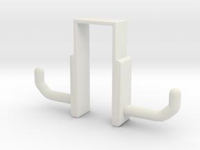 Double Door Hook in White Natural Versatile Plastic: Small