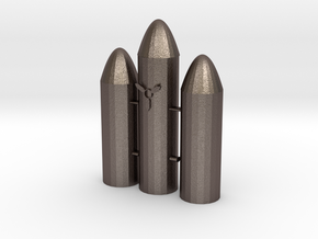 Rocket in Polished Bronzed-Silver Steel