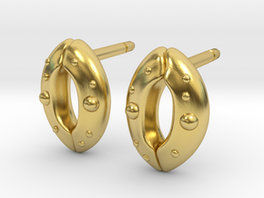 Stomata Earrings - Science Jewelry in Polished Brass