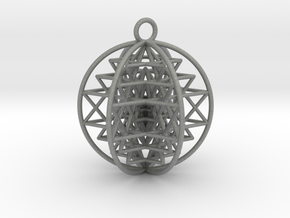 "3D Sri Yantra 6 Sided Symmetrical 2"" Pendant in Gray PA12"