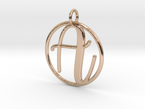 Cursive Initial A Pendant in 14k Rose Gold