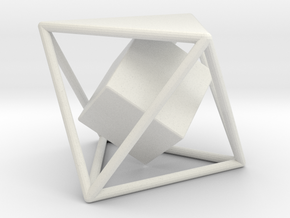 Dual Solids Octahedron-Cube (no hole) in White Natural Versatile Plastic